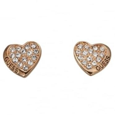 Guess Desert Beauty Heart Stud Earrings UBE11412
