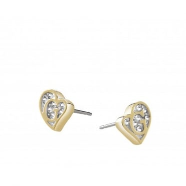 Guess G Hearts Gold Plate Earrings UBE71524