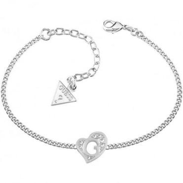 Guess G Hearts Silver Plate Bracelet UBB71527-L