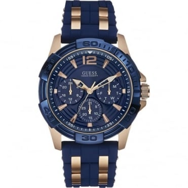Gent's Rose Plate Blue Rubber Oasis Watch W0366G4