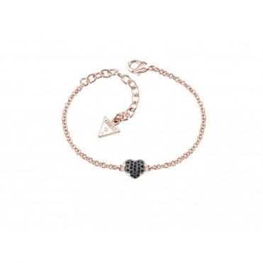 Guess Heartshelter Rose Black Pave Bracelet UBB71520-L