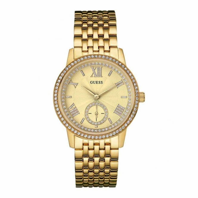 Guess Ladies Gold Plate Stone Set Gramercy Watch W0573L2