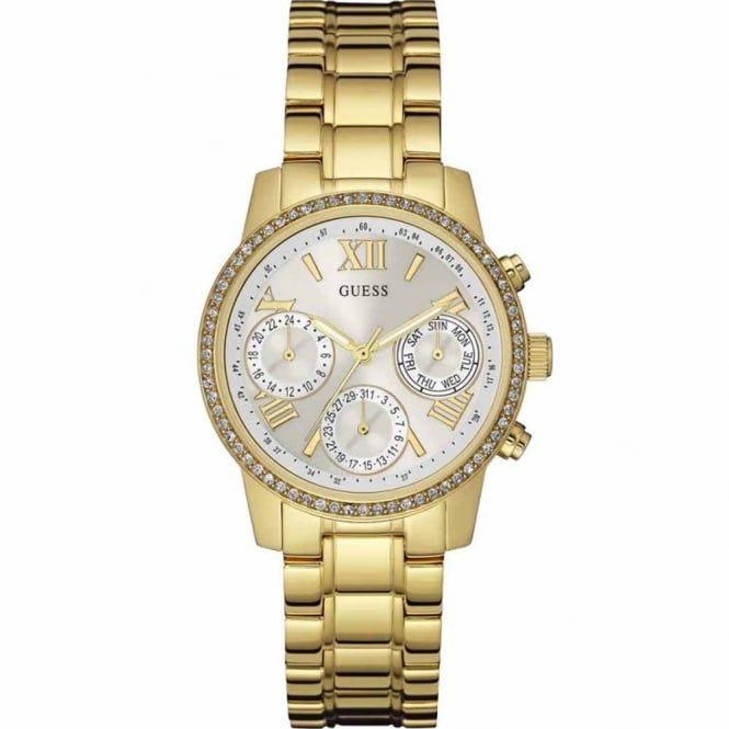 Guess Ladies Gold Plate Stone Set Mini Sunrise Watch W0623L3