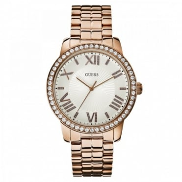 Ladies Rose Gold Stone Set Allure Watch W0329L3