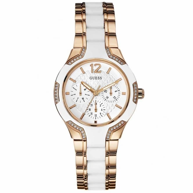 Guess Ladies Rose Plate Stone Set Center Stage Watch W0556L3