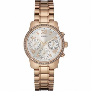 Guess Ladies Rose Plate Stone Set Mini Sunrise Watch W0623L2