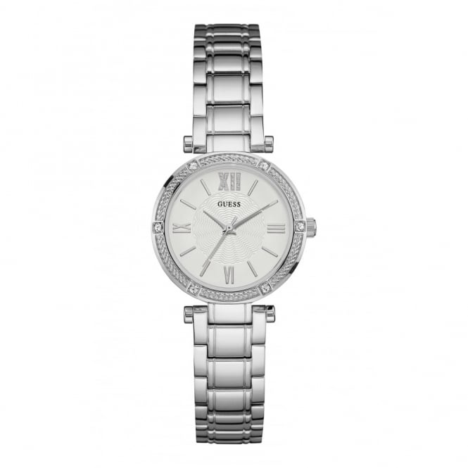 Guess Ladies' S/Steel Stone Set Park Ave South Watch W0767L1