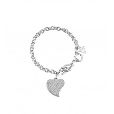 Guess Love Silver Plate Pave Bracelet UBB71533