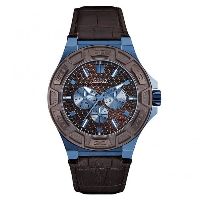 Guess Men's Brown Leather Force Watch W0674G5