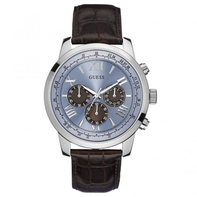 Guess Men's Brown Leather Horizon Chrono Watch W0380G6