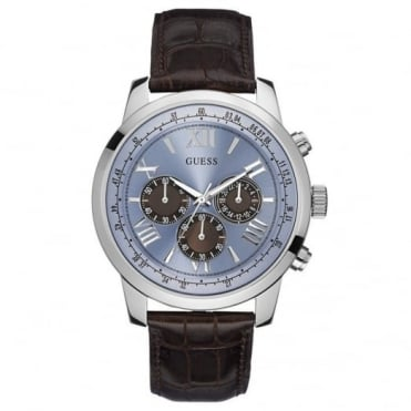 Guess Men's Brown Leather Horizon Chrono Watch W0380G6