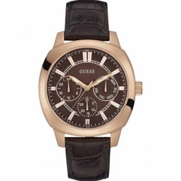 Guess Men's Rose Plate Brown Leather Prime Watch W0660G1