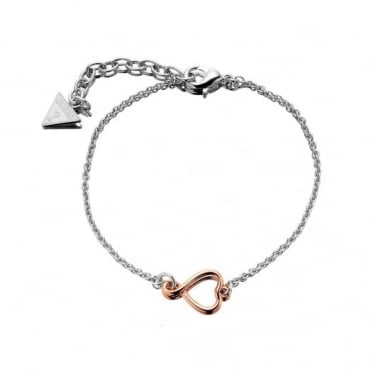 Guess S/Steel & Rose Plate Amour Bracelet UBB61052-L