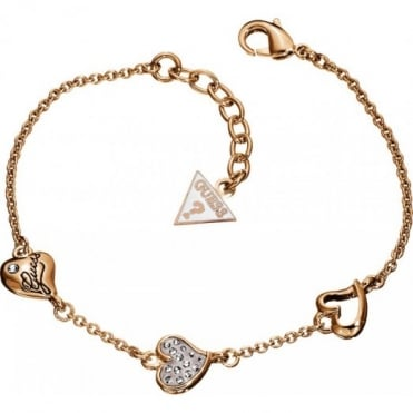 Guess Triple Heart Rose Plate Bracelet UBB71332