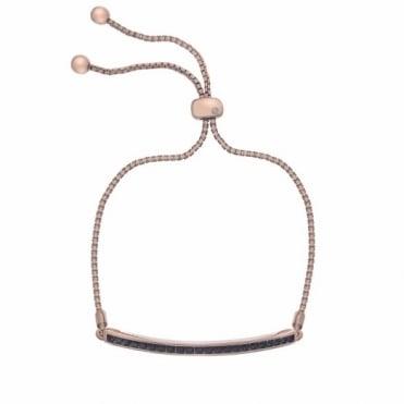 Hot Diamonds Rose Plate Black Crystal Bracelet DL518