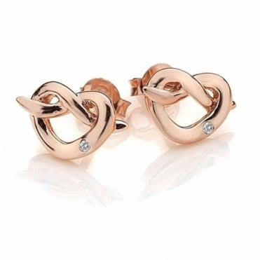 Rose Plate Infinity Heart Earrings DE451