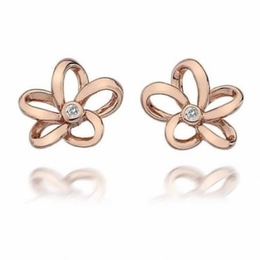 Rose Plate Paradise Open Petal Earrings DE453