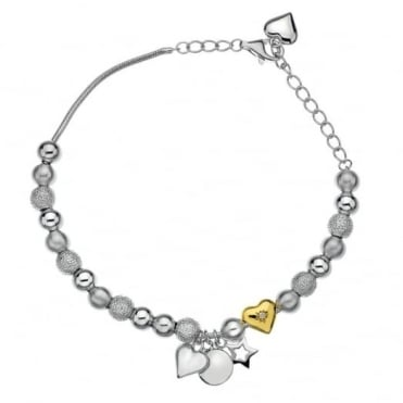 Hot Diamonds Silver & Gold Just Add Love Trinket Bracelet DL506