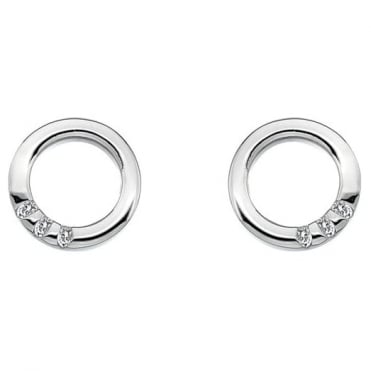 Silver Halo Circle Earrings DE417