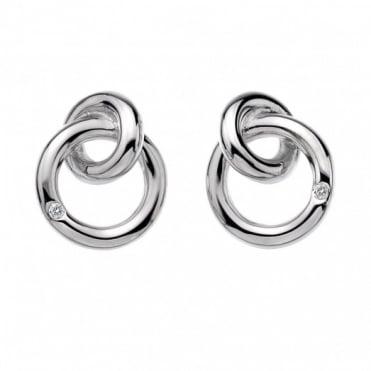Hot Diamonds Silver Interlocking Stud Earrings DE308