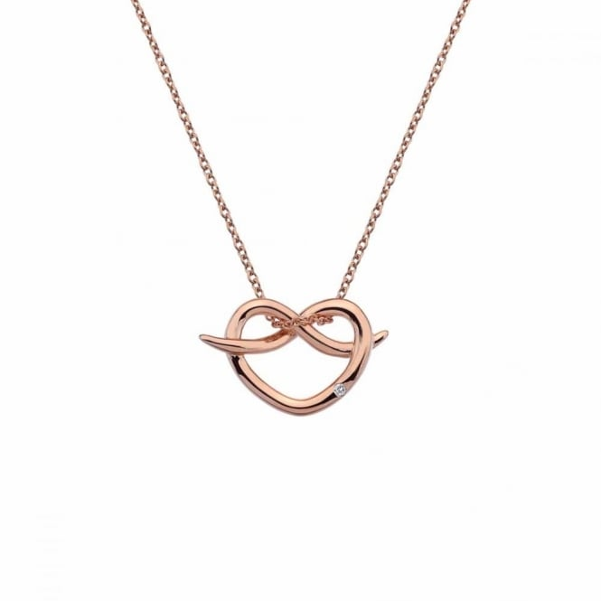 Silver Rose Plate Infinity Heart Pendant DP605