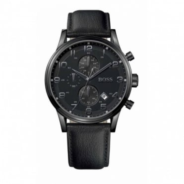 Hugo Boss Gent's Black Ion Plate Chronograph Aeroliner Watch 1512567