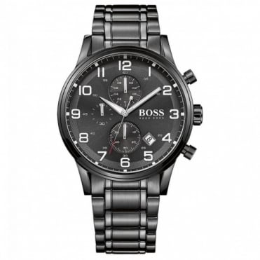 Hugo Boss Gent's Black Ion Plated Chronograph Aeroliner Watch 1513180