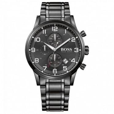 Hugo Boss Gent's Black Ion Plated Chronograph Aeroliner Watch 1513180