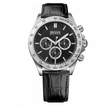Hugo Boss Gent's Black Leather Chrono Ikon Watch 1513178