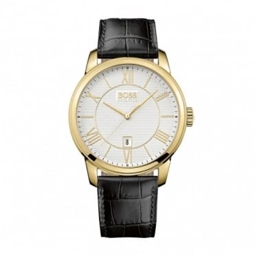Hugo Boss Gent's Gold Plated Black Leather Classico Watch 1512972