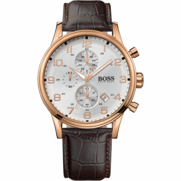 Hugo Boss Gents Rose Gold Chronograph Aeroliner Watch 1512519