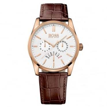 Hugo Boss Gent's Rose Plated Brown Leather Heritage Watch 1513125