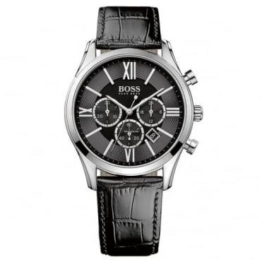 Hugo Boss Gent's S/Steel Black Leather Ambassador Watch 1513194