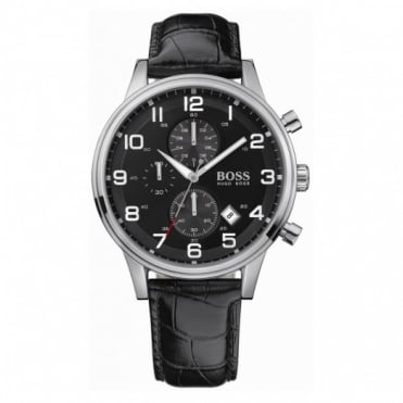 Hugo Boss Gents S/Steel Black Leather Chrono Aeroliner Watch 1512448
