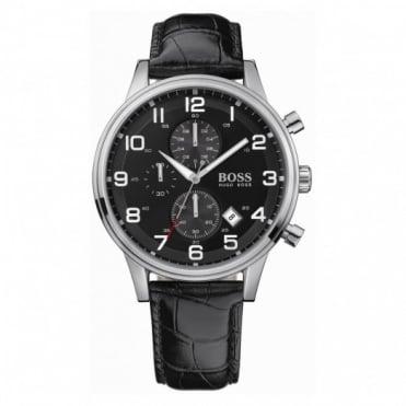 Hugo Boss Gents S/Steel Black Leather Chrono Aeroliner Watch 1512448