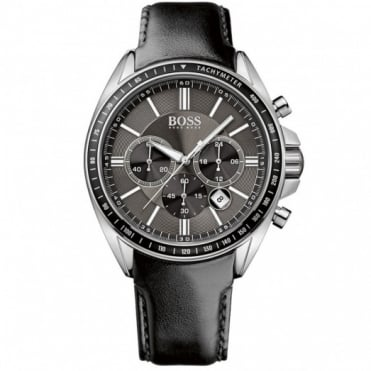 Hugo Boss Gent's S/Steel Black Leather Chrono Diver Sport Watch 1513085