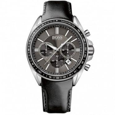 Hugo Boss Gent's S/Steel Black Leather Chrono Diver Sport Watch 1513085