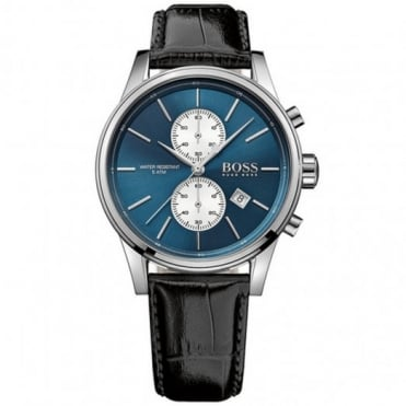 Gent's S/Steel Black Leather Jet Watch 1513283