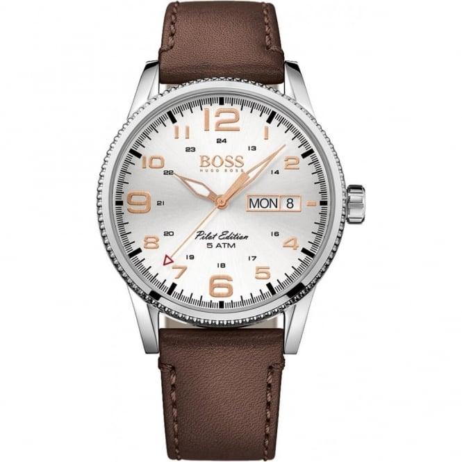 Hugo Boss Gent's S/Steel Brown Strap Pilot Watch 1513333
