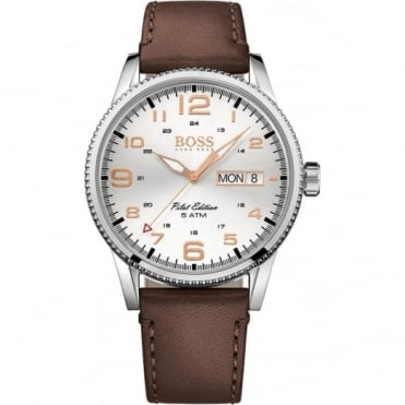 Hugo Boss Gent's S/Steel Brown Strap Pilot Watch 1513333