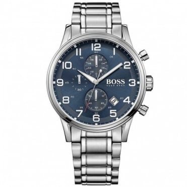 Hugo Boss Gents' Stainless Steel Chronograph Aeroliner Watch 1513183