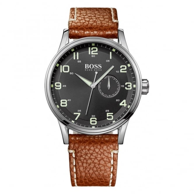 Hugo Boss Gents Stainless Steel Leather Strap Watch 1512723
