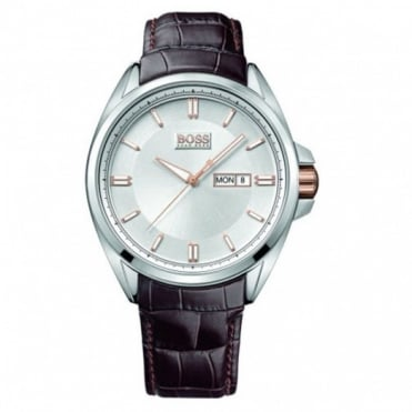 Hugo Boss Gent's Stainless Steel Leather Strap Watch 1512876