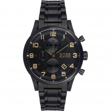Hugo Boss Men's Black Ion Plated Aeroliner Chrono Watch 1513275