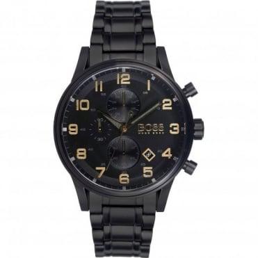 Hugo Boss Men's Black Ion Plated Aeroliner Chrono Watch 1513275
