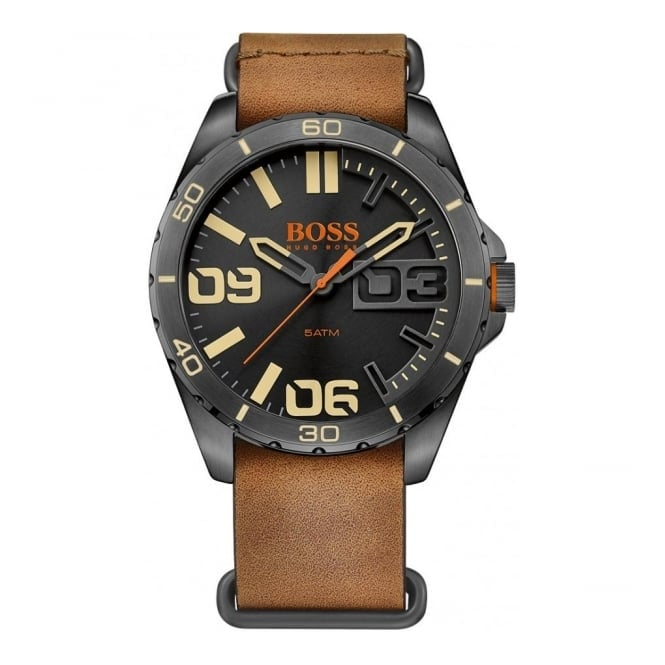 Hugo Boss Orange Men's Black PVD Brown Leather Watch 1513316