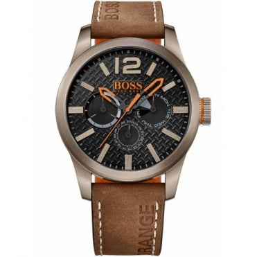 Hugo Boss Orange Men's Gunmetal Brown Leather Paris Watch 1513240