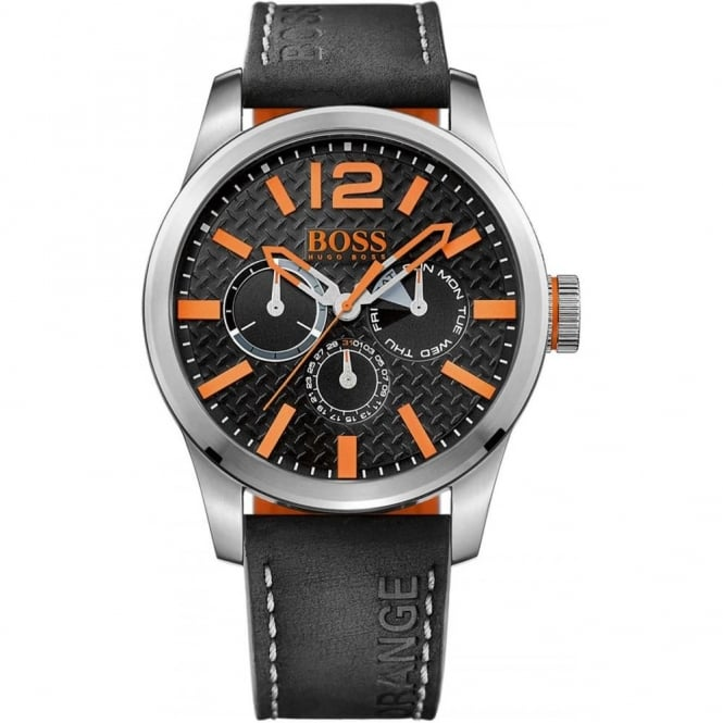 Hugo Boss Orange Men's S/Steel Black Leather Strap Watch 1513228