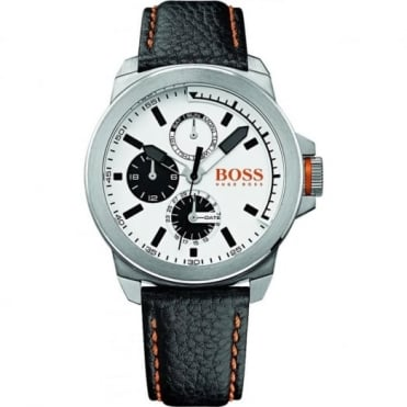 Hugo Boss Orange Men's S/Steel Black Leather Watch 1513154