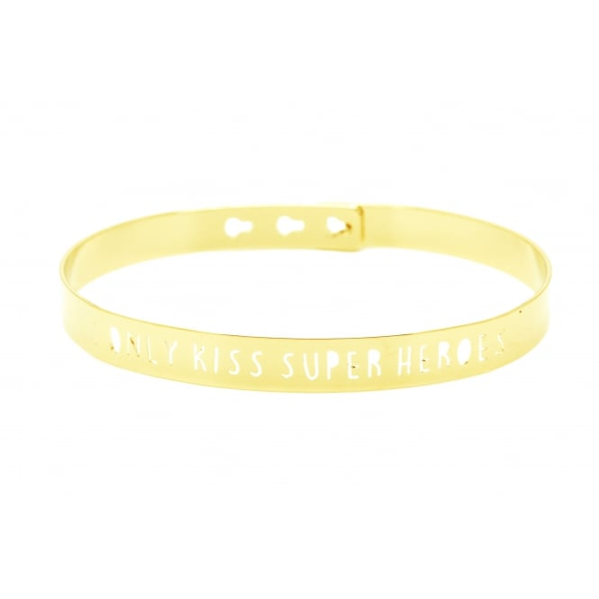 I Only Kiss Super Heroes Gold Bangle JL-11.G